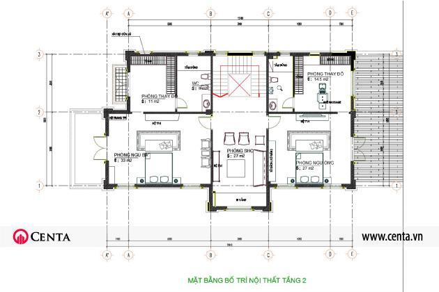 Mặt bằng bố trí thiết kế nội thất tân cổ điển biệt thự tầng 2