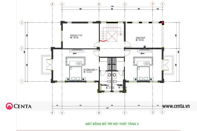 Mặt bằng bố trí thiết kế nội thất tân cổ điển biệt thự tầng 3