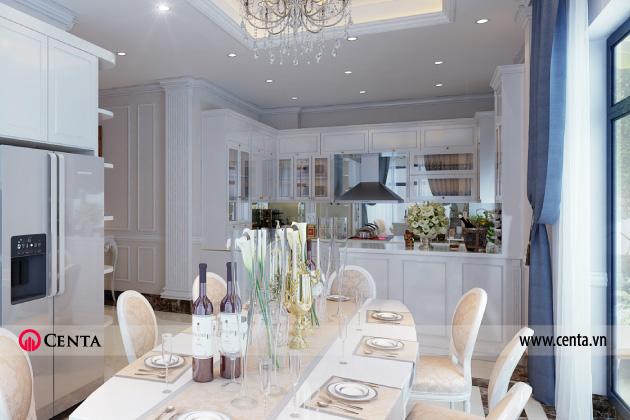 Thiết kế nội thất phòng bếp tân cổ điển cho biệt thự