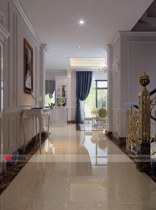 Phối cảnh hành lang thiết kế nội thất tân cổ điển - tầng 1