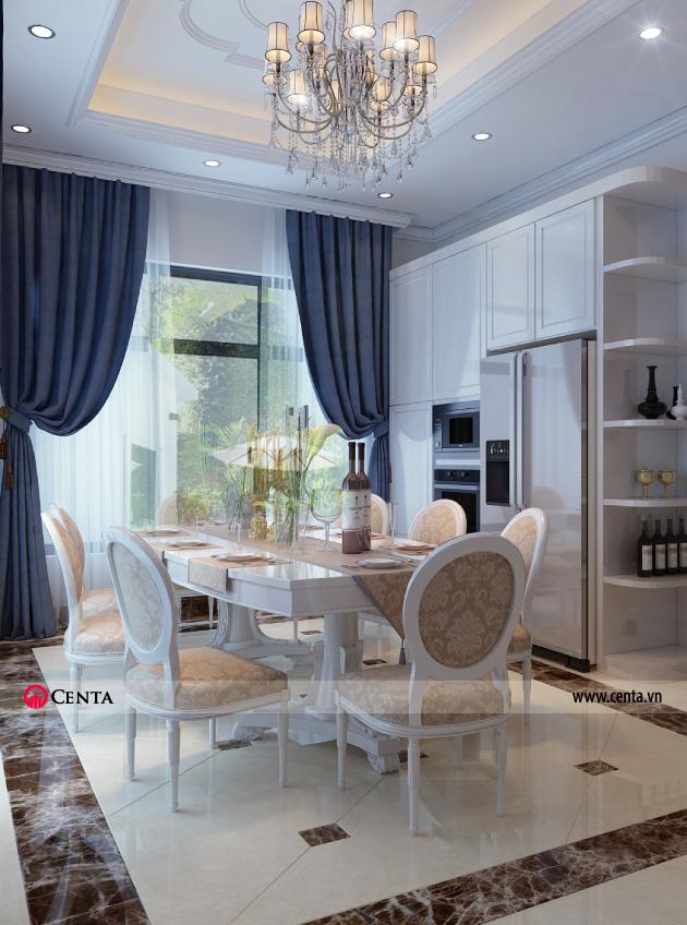 Bàn ăn đặt trong phòng bếp View 02 - Thiết kế nội thất tân biết thự