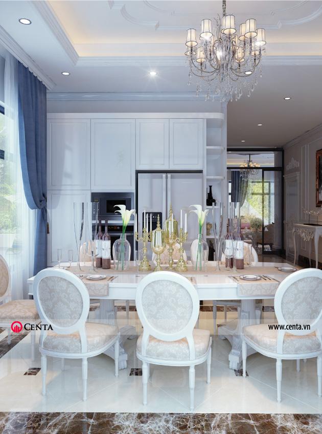 Bàn ăn đặt trong phòng bếp View 01 - Thiết kế nội thất tân biết thự
