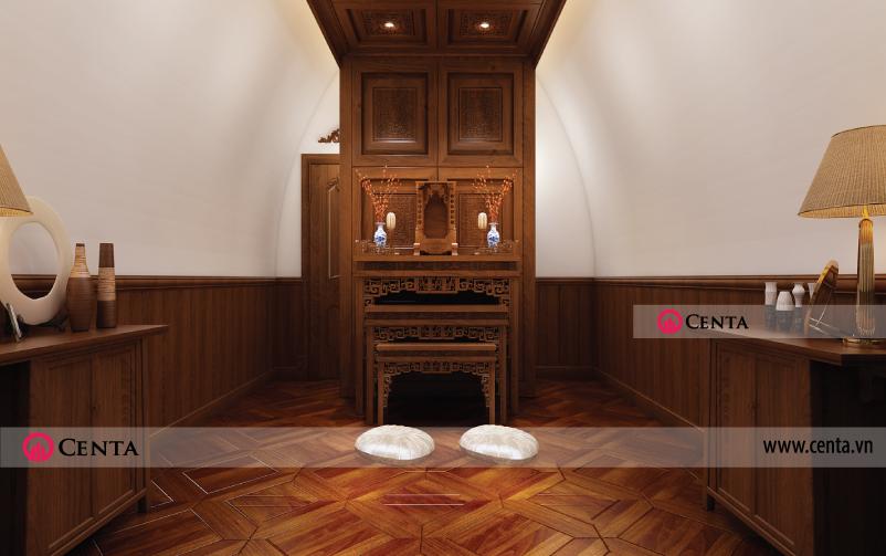 thiết kế nội thất phòng thờ tân cổ điển biệt thự