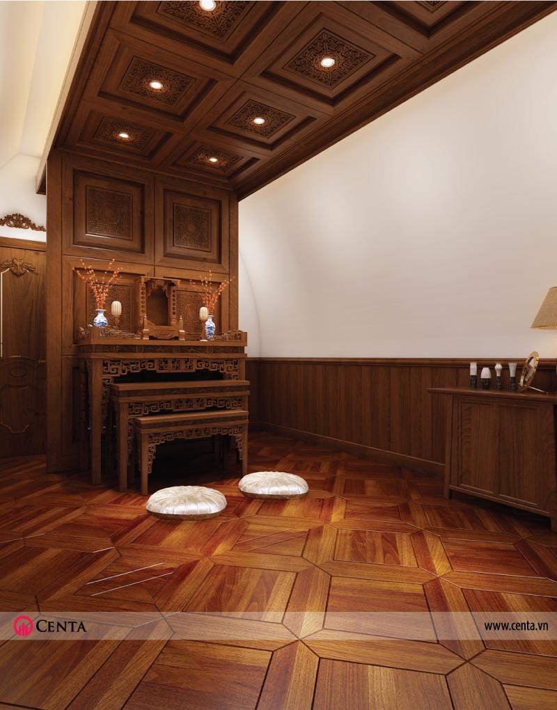 thiết kế nội thất bàn thờ tân cổ điển biệt thự