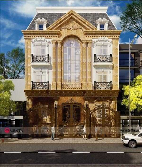 Mẫu biệt thự kiểu Pháp thiết kế 4 tầng