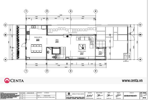 Mặt bằng thiết kế nội thất tầng 1 biệt thự 3 tầng hiện đại Gamuda Gardens