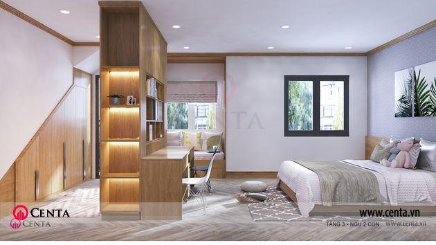Biệt thự cao cấp nội thất sang trọng thiết kế phòng ngủ có tủ bàn làm việc