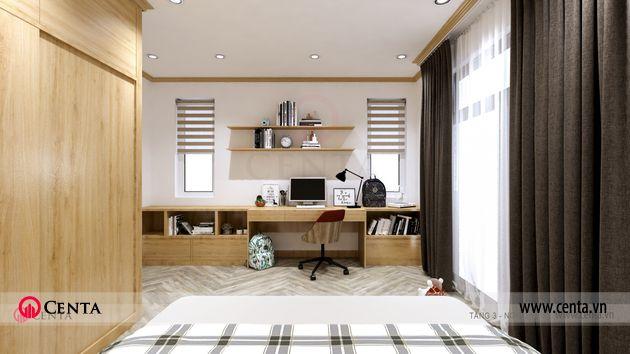 Thiết kế biệt thự phòng ngủ phòng học rèm trang trí tủ gỗ công nghiệp