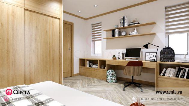 Thiết kế phòng ngủ có bàn học tủ gỗ công nghiệp rèm cửa