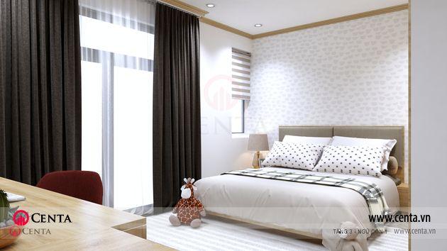 Phòng ngủ giườn ngủ bàn học rèm thảm ốp trang trí đầu giường