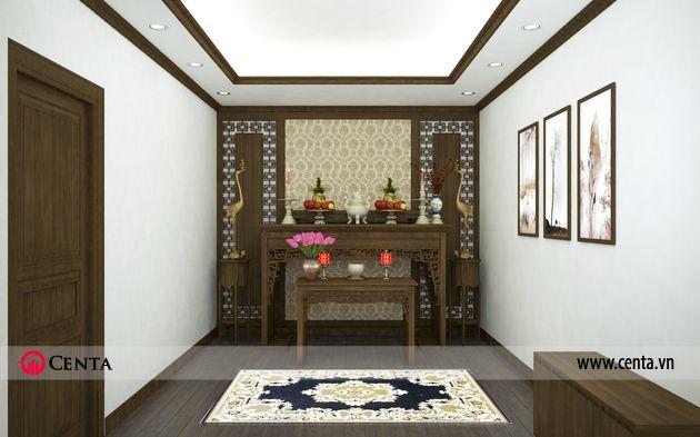 Phòng thờ gỗ tự nhiên màu óc chó