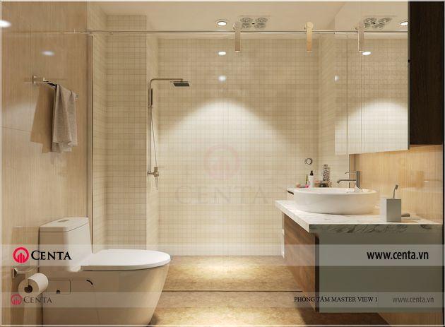 Mẫu thiết kế phòng tắm biệt thự Gamuda Gardens đẹp lavabo toilet vách kính