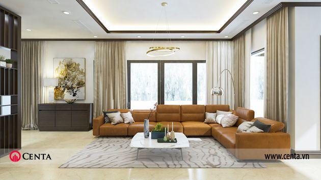 Phòng khách biệt thự tầng 1 sofa da bàn trà rèm thảm trang trí nội thất Gamuda Gardens