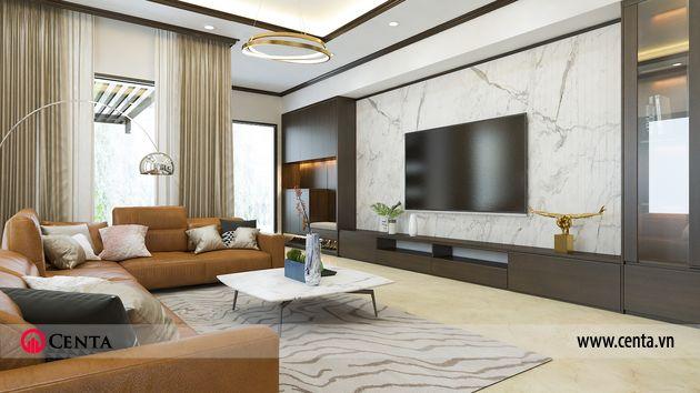 Phối cảnh thiết kế phòng khách sofa bàn trà đẹp trang trí nội thất