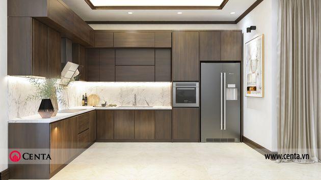 Thiết kế tủ bếp phòng ăn gỗ công nghiệp biệt thự liền kề