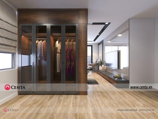 Phối cảnh phòng ngủ master - Thiết kế nội thất tủ thay đồ