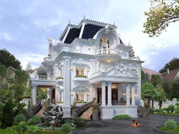 Thiết kế biệt thự 3 tầng kiểu Pháp