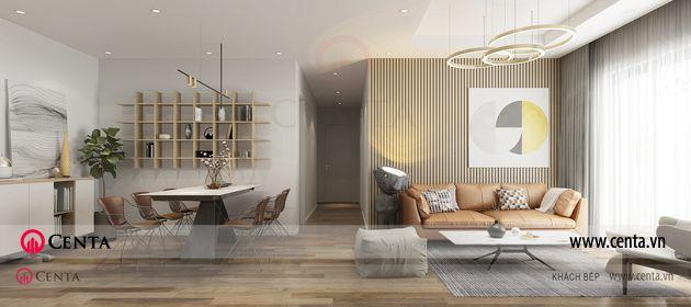 Thiết kế phòng khách phòng ăn căn hộ hiện đại 3 phòng ngủ