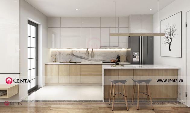 Thiết kế phòng khách phòng bếp căn hộ chung cư đẹp hiện đại