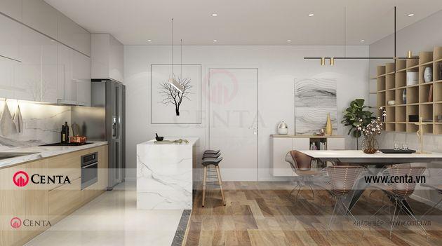 Căn hộ mẫu phòng khách bếp nội thất hiện đại