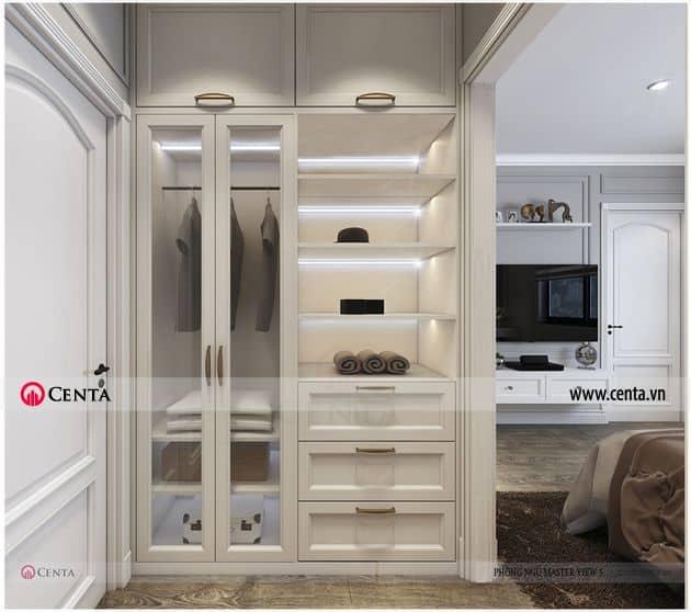 Thiết kế chung cư pandora tủ áo cánh kính tân cổ điển căn hộ
