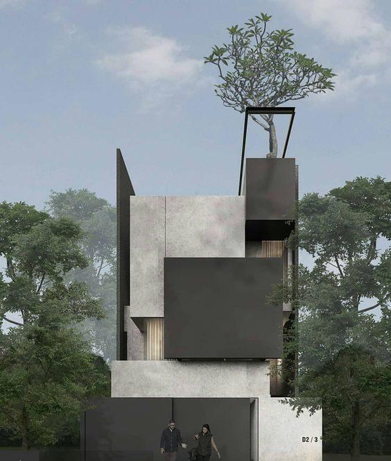 Mẫu nhà phố 3 tầng sử dụng bê tông mài, hình khối vuông đan xen ghi xám và đen
