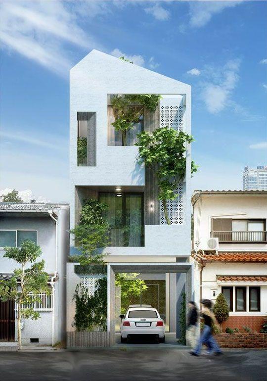 Bản vẽ kiến trúc mẫu nhà phố 3 tầng có gara ô tô và cây xanh. Nét độc lạ thông qua thiết kế mái phá cách