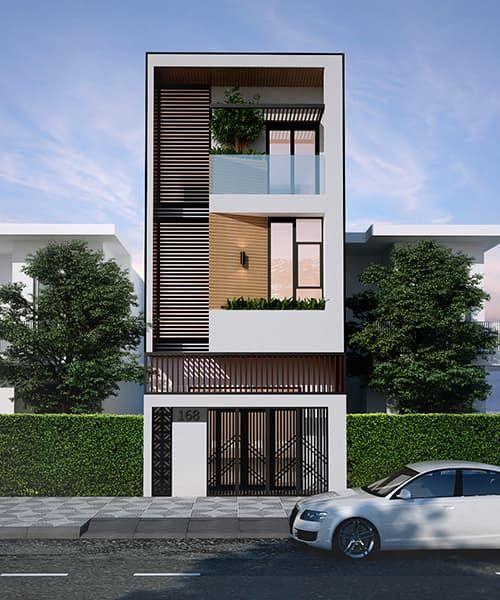 Nhà phố hiện đại với khối đơn giản và trang trí bằng hệ lam chắn nắng