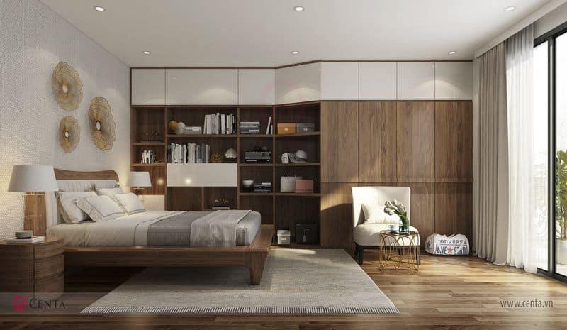 Thiết kế nội thất biệt thự Giường ngủ gỗ óc chó, tủ quần áo phòng ngủ, đôn ghế sàn gỗ