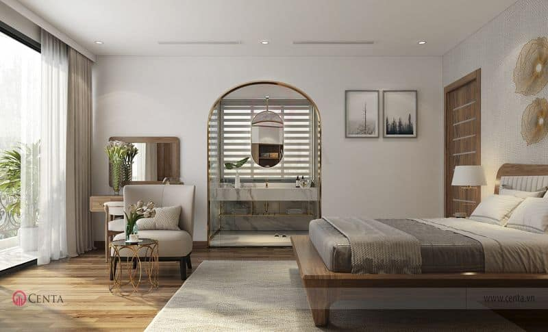 Phòng ngủ gỗ óc chó, kệ trang trí inox, gương bàn phấn trang trí thảm nỉ