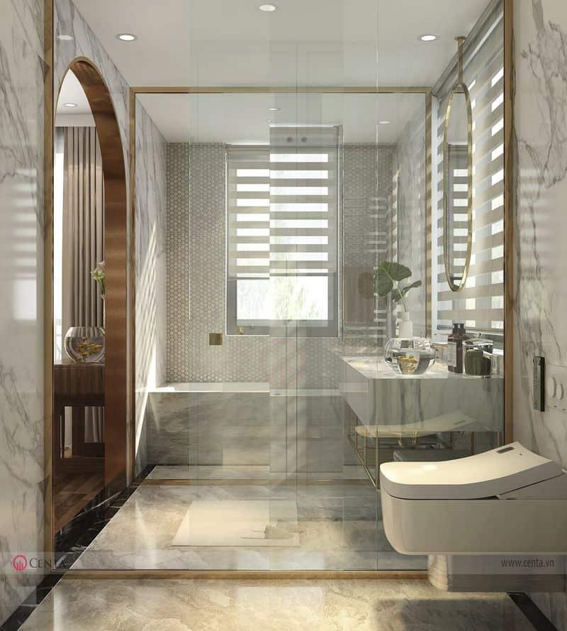 Phòng vệ sinh master wc lavabo, bồn rửa mặt vách tắm kính ốp lát gạch