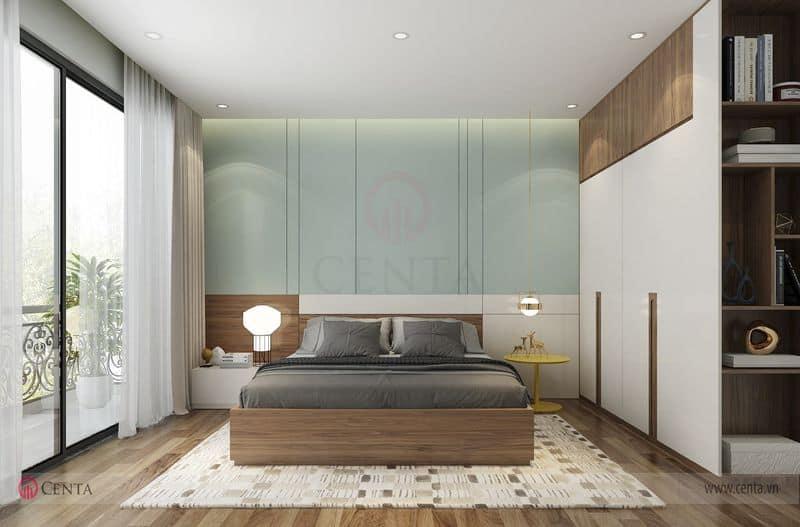 Giường ngủ tab đầu giường vách ốp phòng ngủ và tủ áo rèm thảm