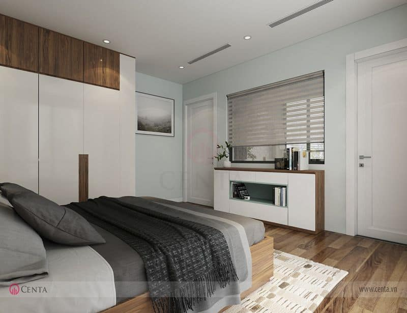 Phòng ngủ giường tủ chăn ga gối đẹp kệ tivi rèm sáo cửa gỗ trắng