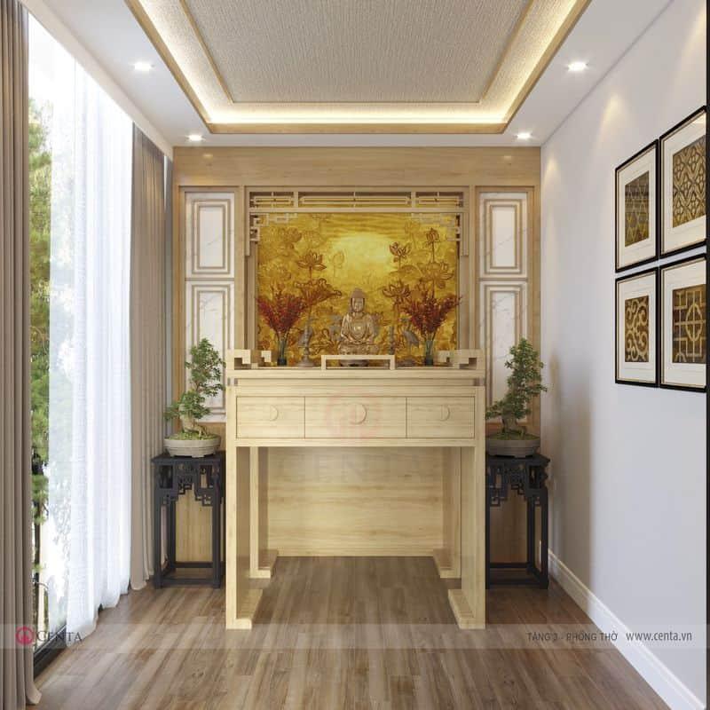 Phòng thờ bàn thờ gia tiên gỗ tự nhiên rèm và tranh treo tường