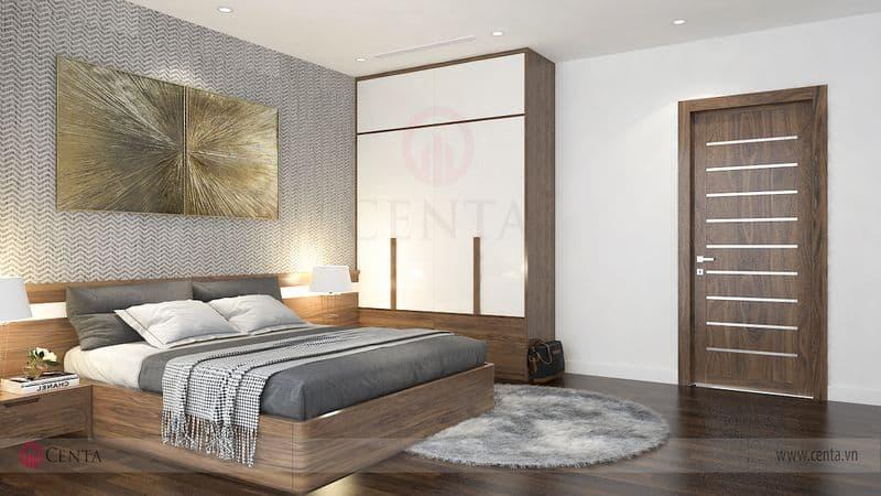 Giường tủ gỗ óc chó phòng ngủ cửa gỗ công nghiệp