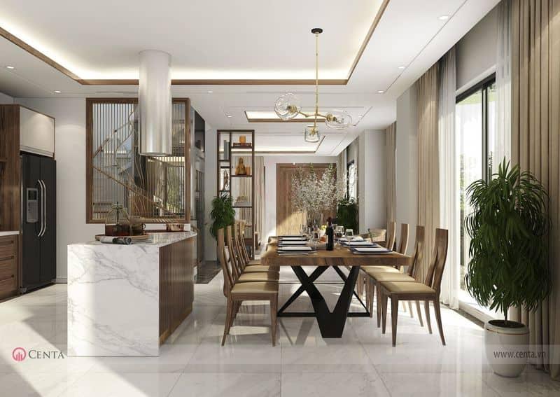 Tủ bếp đảo bếp gỗ óc chó và bộ bàn ăn đẹp thiết kế nội thất biệt thự