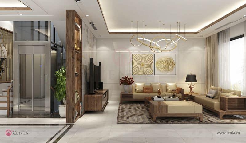 Thiết kế phòng khách và sảnh thang máy
