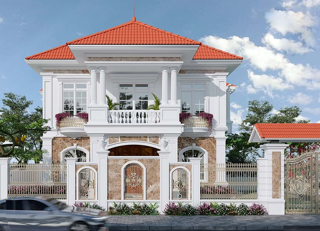biệt thự mái thái 2 tầng kết hợp phong cách tân cổ điển