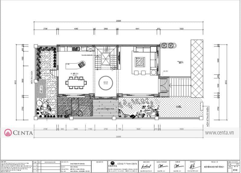 Mặt bằng thiết kế nội thất tầng 01 biệt thự Sơn Khải Hill