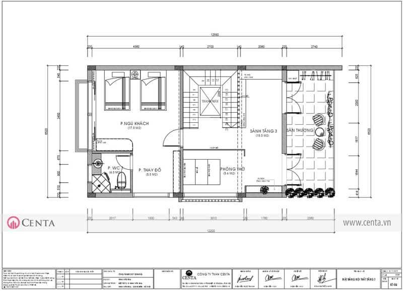 Mặt bằng thiết kế nội thất tầng 03 biệt thự Sơn Khải Hill