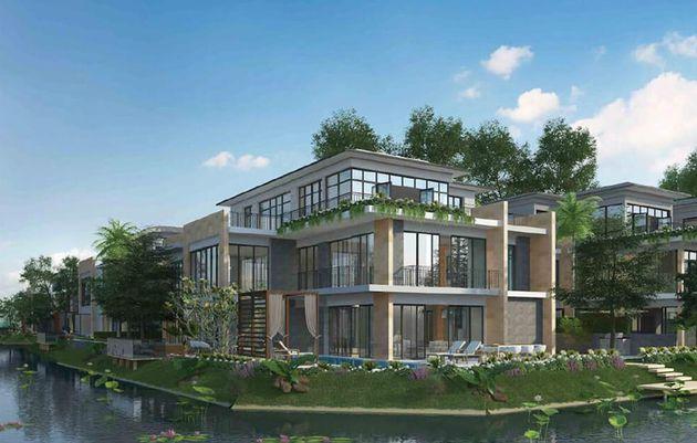 Thiết kế kiến trúc nhà đẹp biệt thự sang chảnh 540m2 hướng hồ đảo Ecopark