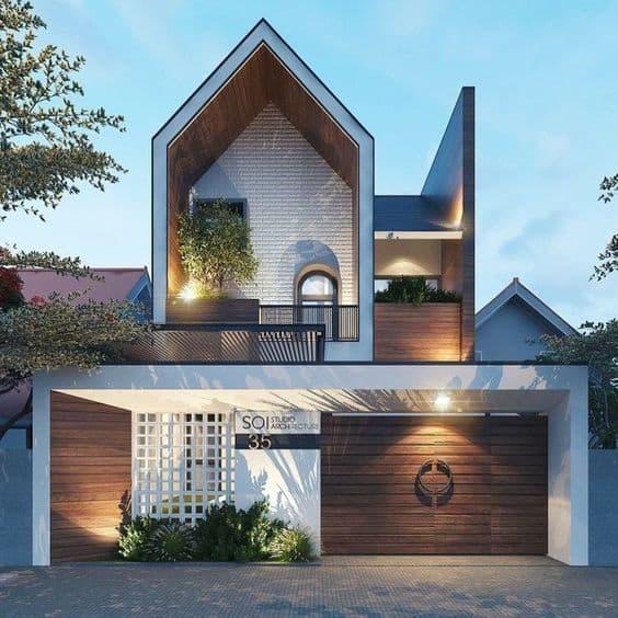 Phối cảnh thiết kế mặt tiền nhà phố với kiến trúc đơn giản mà ấn tượng.