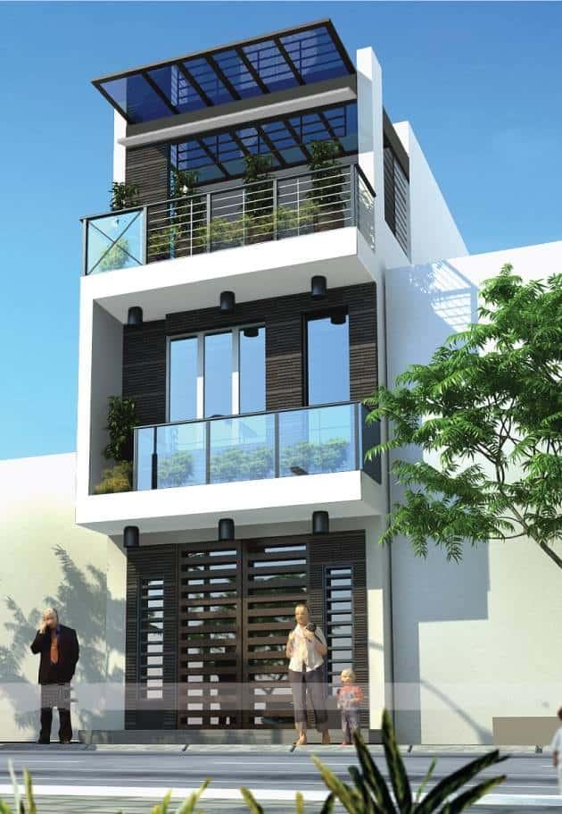 nhà phố 3 tầng cửa kính, mái chắn nắng, lam chắn nắng