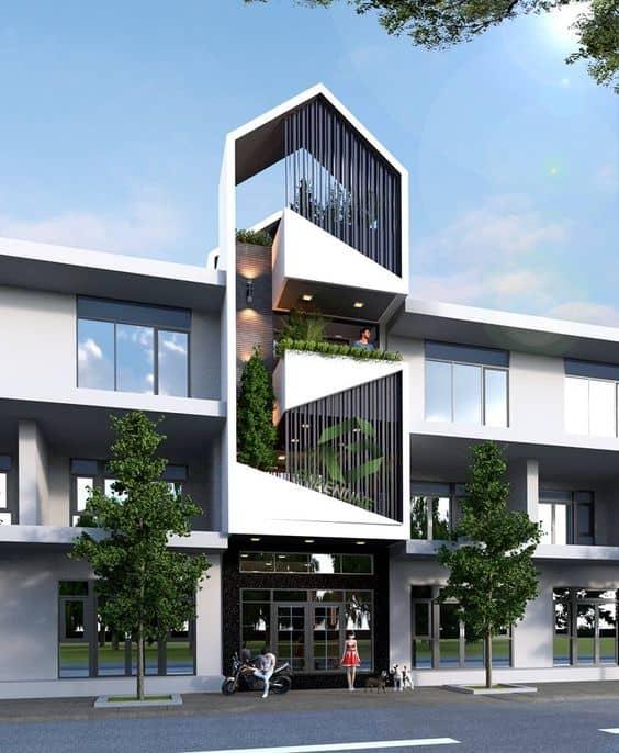 nhà phố nhà ống 3 tầng chóp nhọn tam giác có lưới an toàn và cây xanh đẹp