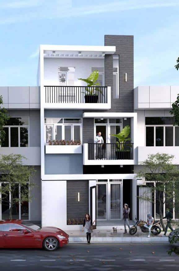 Mẫu nhà phố đẹp 3 tầng cây xanh con người