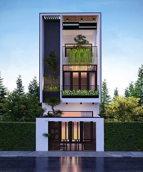nhà phố 5m, nhà phố hiện đại mẫu thiết kế nhà ống 2 tầng 5x20m mặt tiền nhà phố 5m