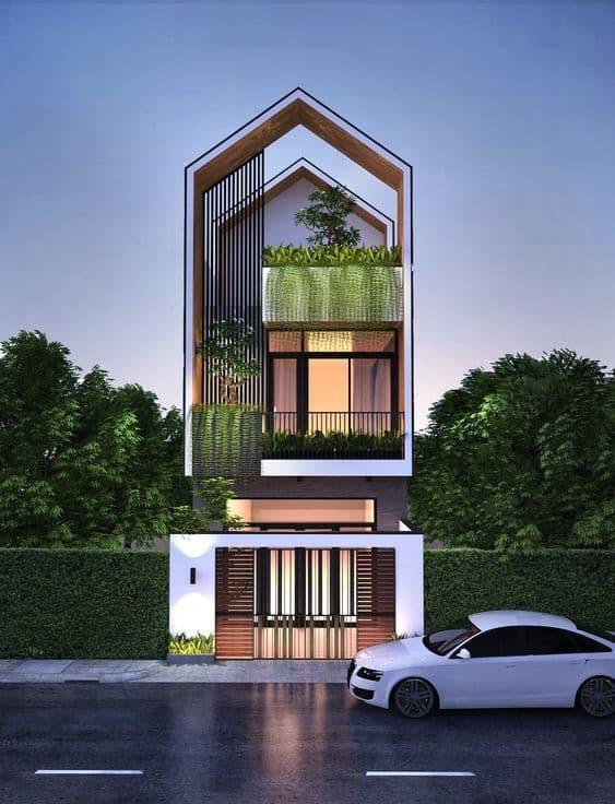 mẫu thiết kế nhà phố 3 tầng đẹp hiện đại có cây xanh và ô tô