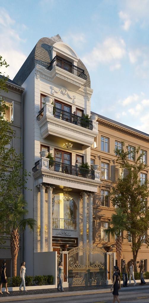 Mẫu nhà phố 5 tầng phong cách tân cổ điển (biệt thự cổ điển sang trọng) nha dep tan co dien