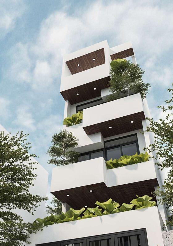 Mẫu nhà phố 4 tầng đẹp có cây xanh