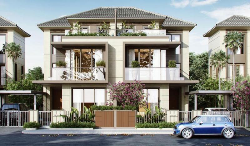 Mẫu Nhà đẹp biệt thự song lập 2 tầng 1 tum có hàng rào cây xanh mau nha dep